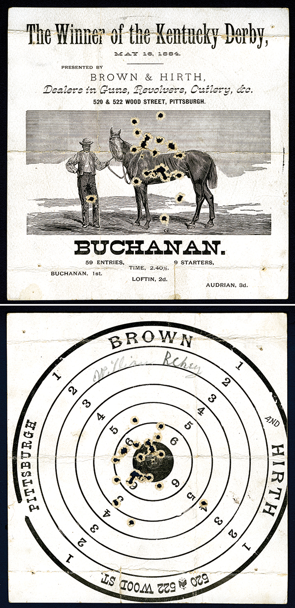 Target With Bullet holes with Winner of the 1884 Kentucky Derby.