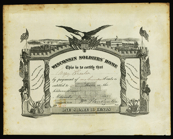 Wisconsin Soldiers, Home Contribution Stock Certificate, ca. 1865.