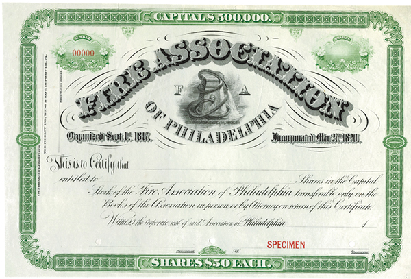 Fire Association of Philadelphia, ca.1900-1910 Specimen Stock
