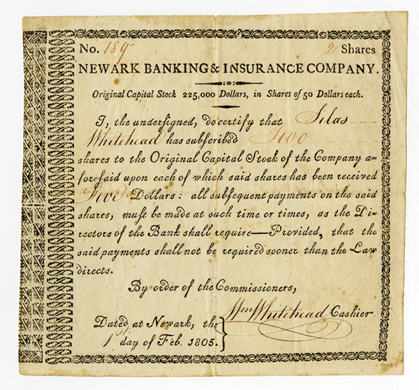 Newark Banking & Insurance Co., 1805 Issued Stock Certificate.
