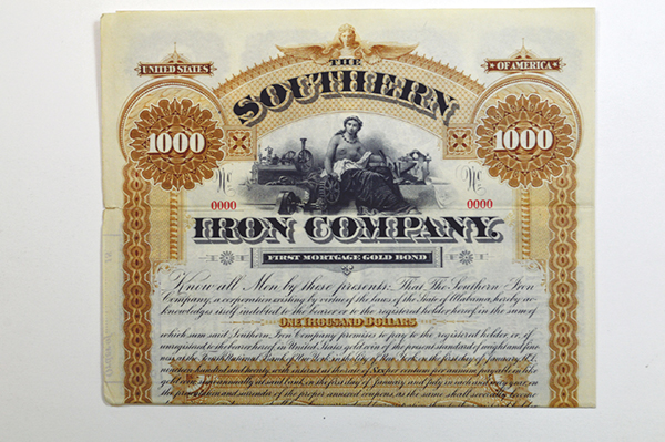 Southern Iron Co. 1890 Specimen Bond
