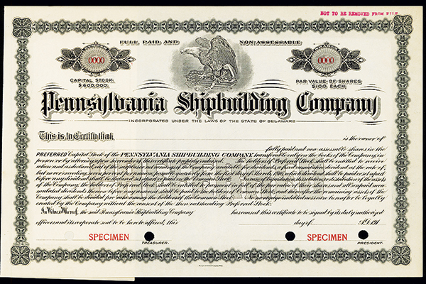 Pennsylvania Shipbuilding Co., ca.1910-1920 Specimen Stock.