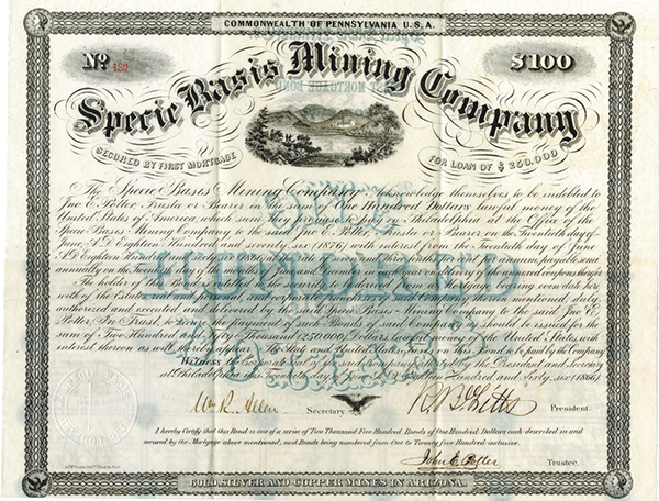 Specie Basis Mining Co., 1866 Issued Stock Certificate.