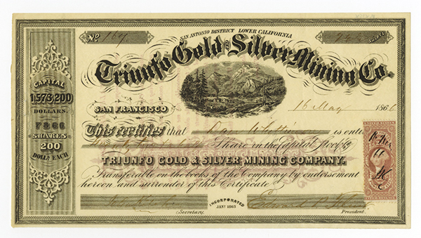 Triunfo Gold and Silver Mining Co., 1866 Stock Certificate.