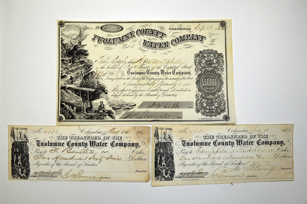 Tuolumne County Water Co., ca.1857-1862 Issued Check and Stock Certificate.