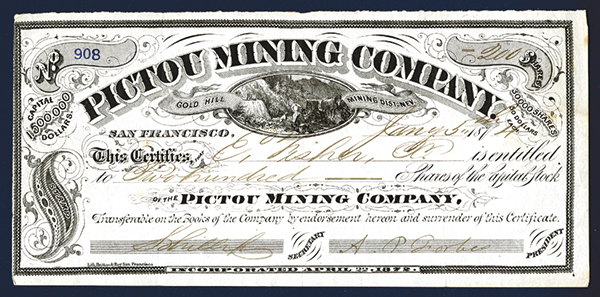 Pictou Mining Company, 1874 Stock Certificate.