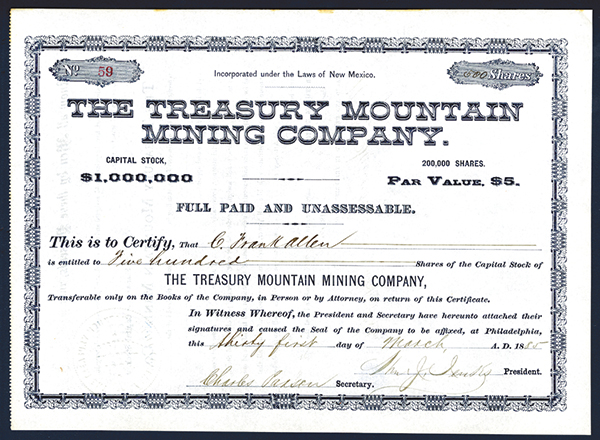 Treasury Mountain Mining Co., 1885 Issued Stock