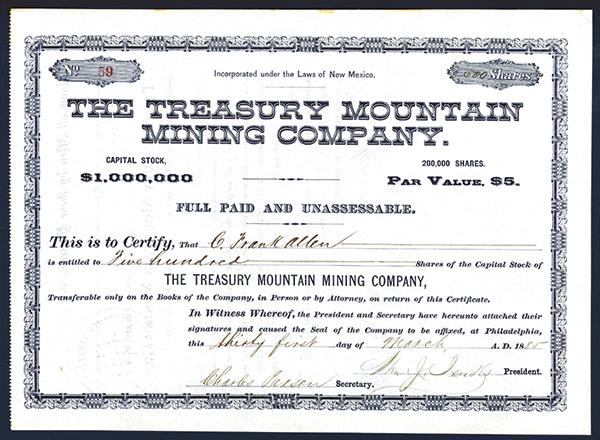 Treasury Mountain Mining Co., 1885 Issued Stock