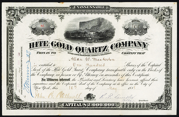 Hite Gold Quartz Co., 1881 Issued Stock.