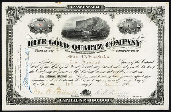 Hite Gold Quartz Co., 1881 Issued Stock.