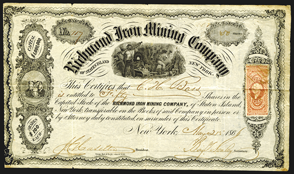 Richmond Iron Mining Co., 1866 Issued Stock Certificate.