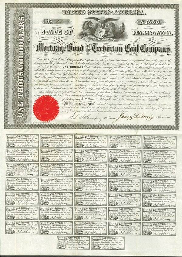 Mortgage Bond of the Trevorton Coal Company, 1861 Issued Bond.