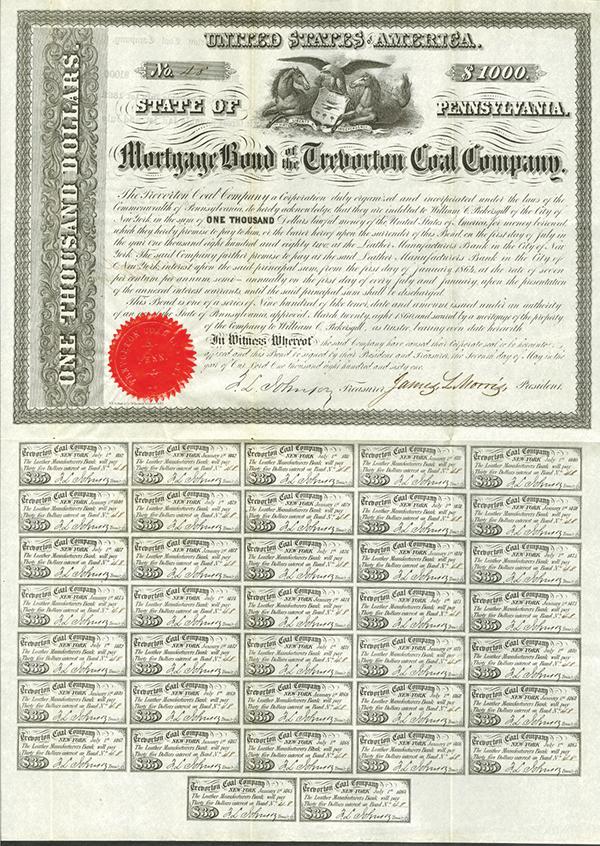 Mortgage Bond of the Trevorton Coal Company, 1861 Issued Bond.