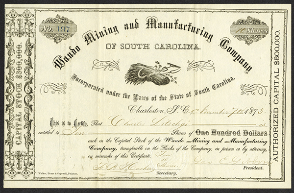 Wando Mining and Manufacturing Co., 1873 Issued Stock