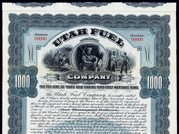 Utah Fuel Co., Specimen Bond.