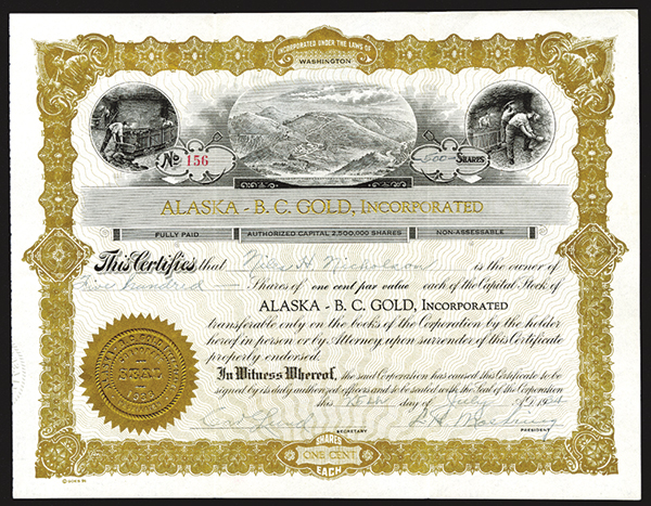 Alaska - B.C. Gold, Inc., 1934 Issued Stock.