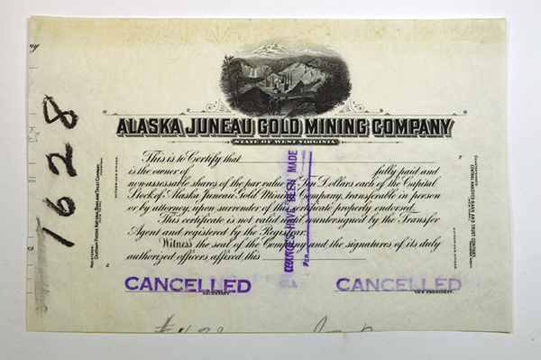 Alaska Juneau Gold Mining Co, ca.1900 Proof Stock