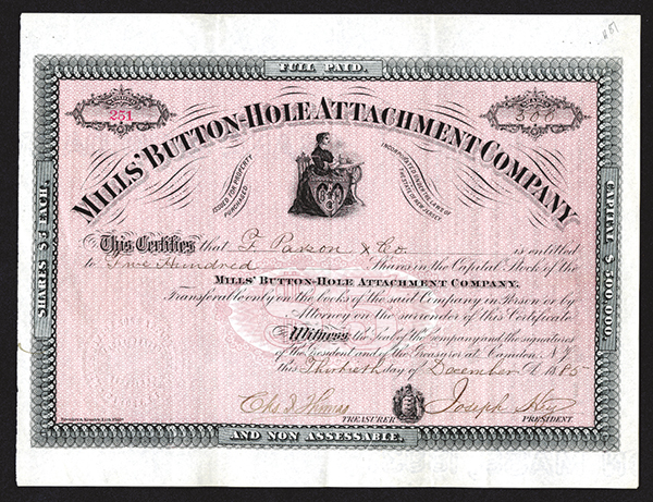 Mills' Button-Hole Attachment Company Issued Shares. 1885.