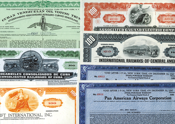 Worldwide Stock Certificate Assortment, ca.1930-1970's.