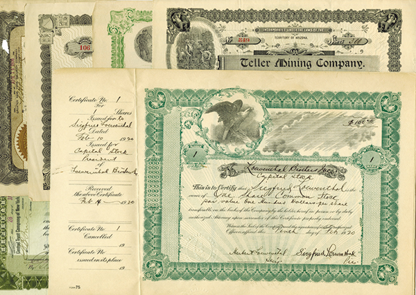 Mining, Industrial and Railroad Stock Certificate Assortment, ca.1902-1920.