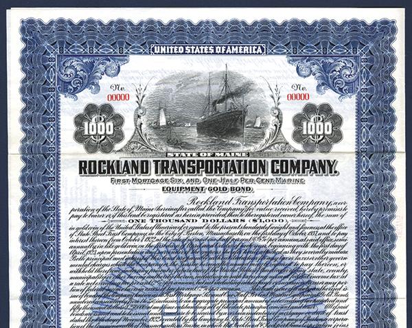 Rockland Transportation Co., 1922 Specimen Bond.