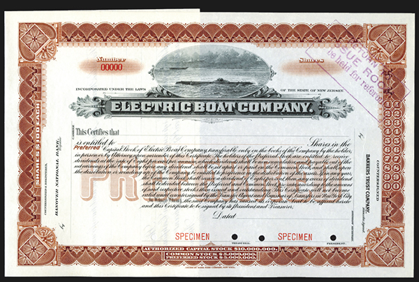 Electric Boat Co., ND ca.1900-20's Specimen Stock Certificate.