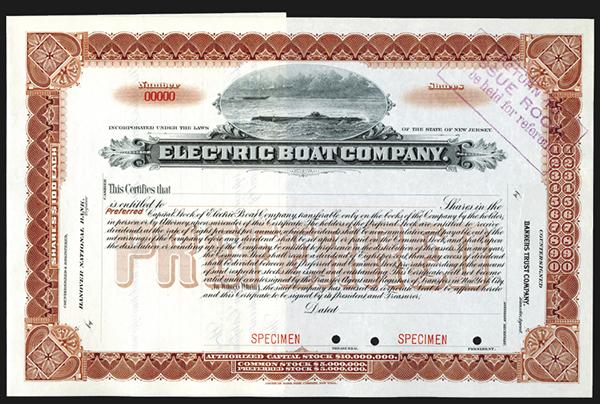 Electric Boat Co., ND ca.1900-20's Specimen Stock Certificate.