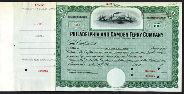 Philadelphia and Camden Ferry Co., ca.1900-1910 Specimen Stock