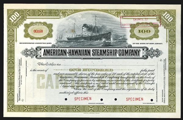 American Hawaiian Steamship Co. ca. 1890-1900 Specimen Stock Certificate.