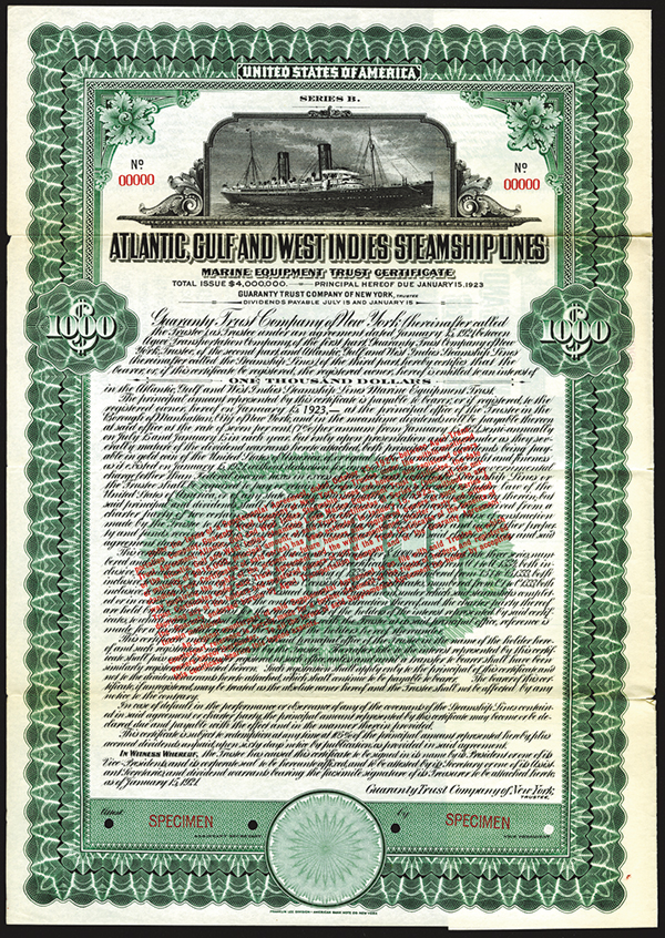Atlantic, Gulf and West Indies Steamship Lines, Marine Equipment Trust Certificate, 1921 Specimen Bond.