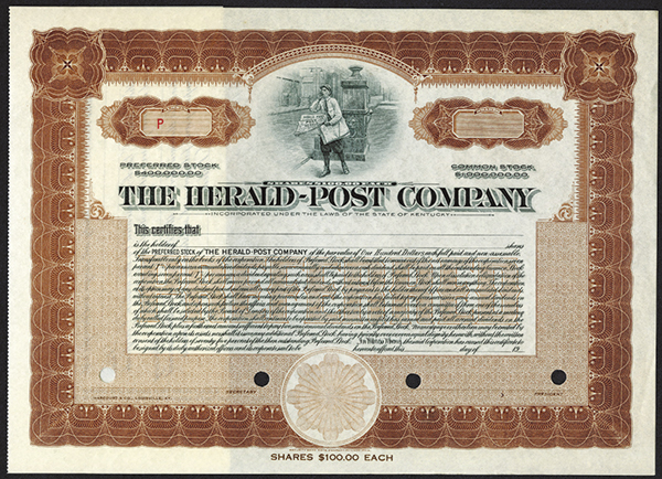 Herald - Post Co., ca.1940-1950 Specimen Stock