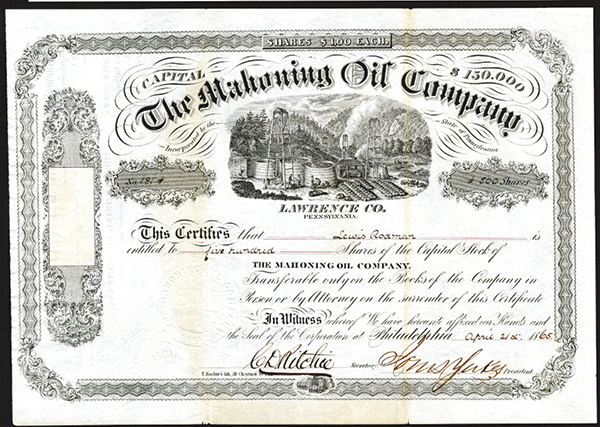 Mahoning Oil Co., 1865 Issued Stock.