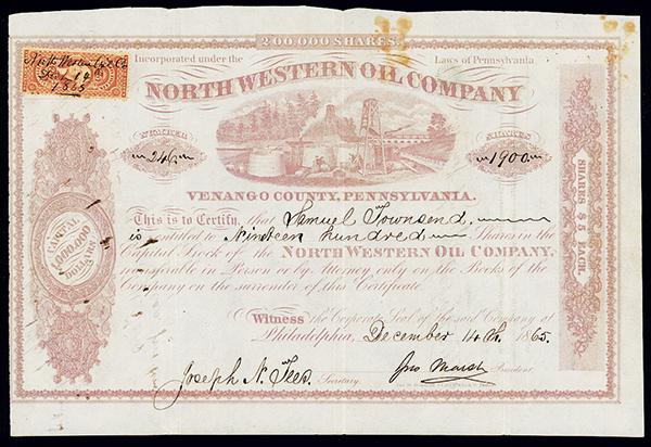 North Western Oil Co., 1865 Issued Stock.