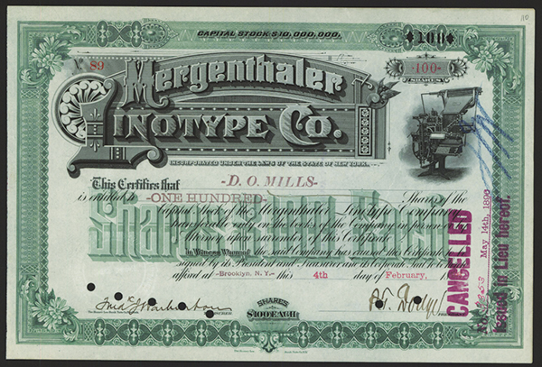 Mergenthaler Linotype Co., 1896 Issued Stock.