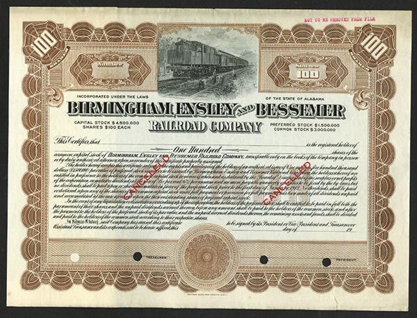 Birmingham, Ensley and Bessemer Railroad Co. ca.1913 Specimen Stock