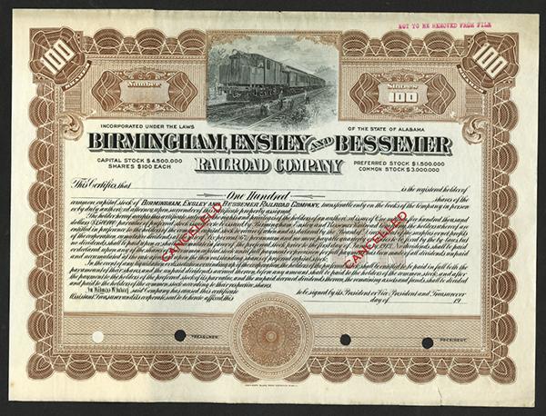 Birmingham, Ensley and Bessemer Railroad Co. ca.1913 Specimen Stock