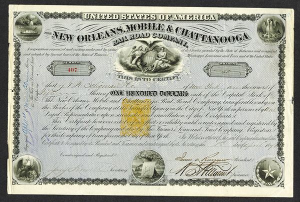 New Orleans, Mobile, and Chattanooga Railroad Co., 1871, Issued Stock with 25cents Imprinted Revenue.