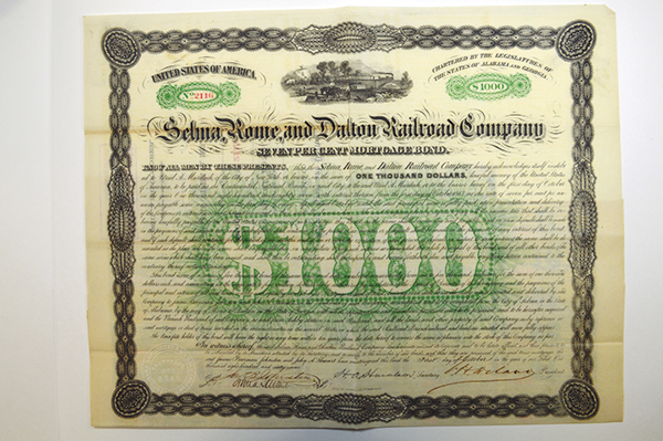 Selma, Rome, and Dalton Railroad Co. 1867 Issued Bond