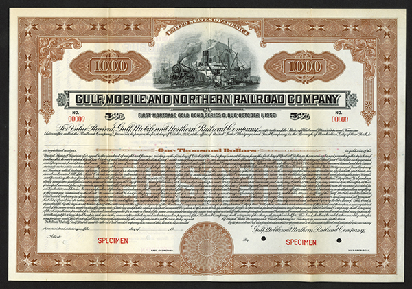 Gulf, Mobile, and Northern Railroad Co., ca.1926 Specimen Bond