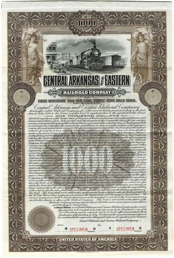 Central Arkansas and Eastern Railroad Co., 1910 Specimen Bond
