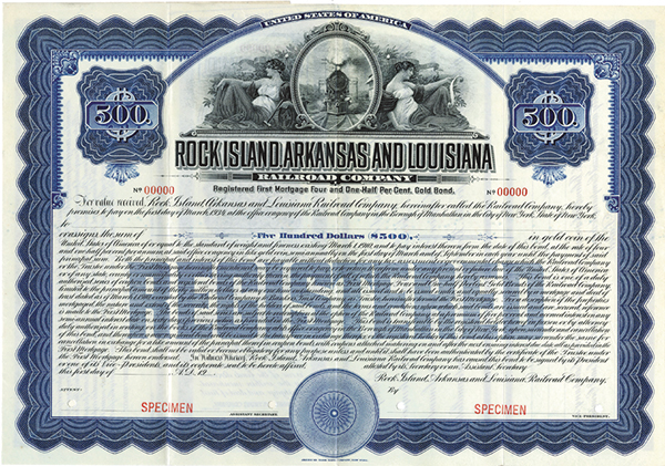 Rock Island, Arkansas and Louisiana Railroad Co., 1910 Specimen Bond.
