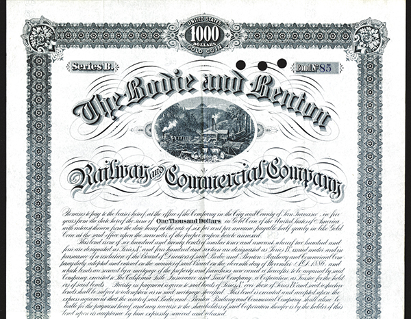 Bodie & Benton Railway & Commercial Co. 1886 Issued Bond.