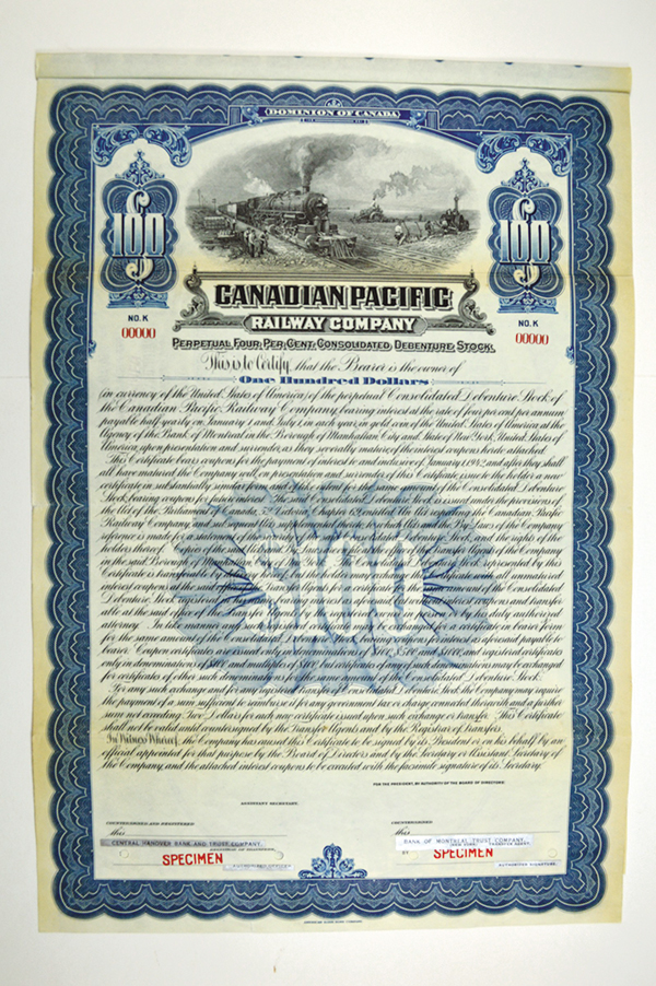 Canadian Pacific Railway Co. 1922 Specimen Bond.