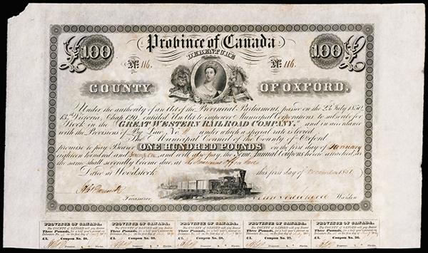 Great Western Railroad Co., 1851 Issued Bond.