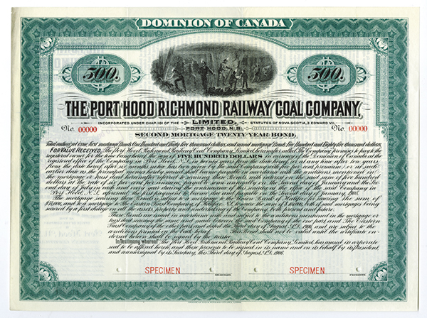 Port Hood Richmond Railway Coal Co., Ltd 1906 Specimen Bond.