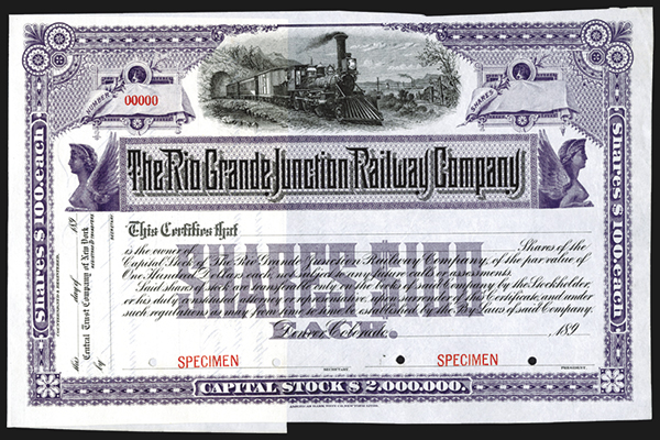 Rio Grande Junction Railway Co., 189x Specimen Stock Certificate.