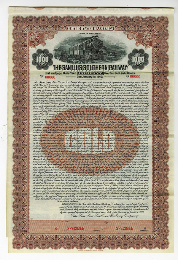 San Luis Southern Railway Co. 1910 Specimen Bond.