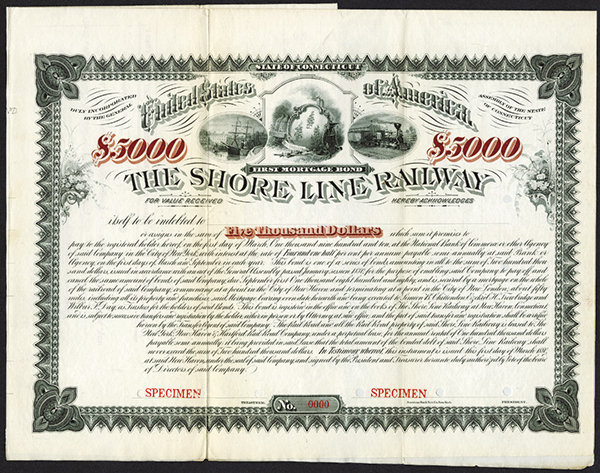 Shore Line Railway 1880 Specimen Bond