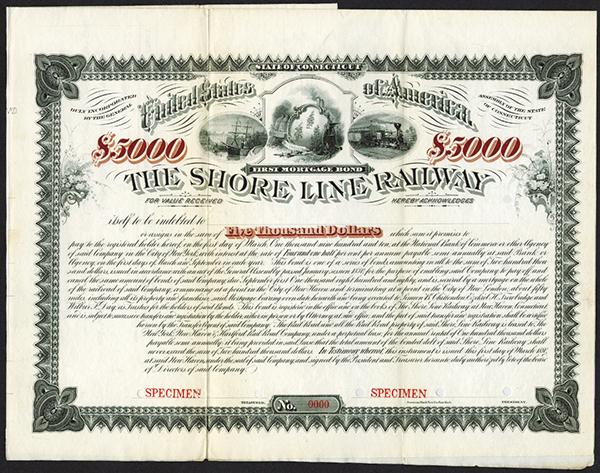 Shore Line Railway 1880 Specimen Bond