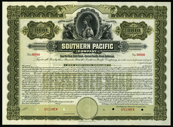 Southern Pacific Co., 1899 Specimen Bond.